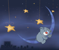 Bear cub and the moon cartoon Stock Photography