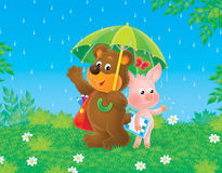 Bear-cub and piglet in the rain Stock Photo