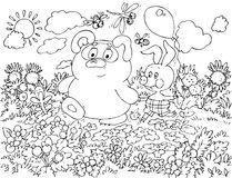 Bear-cub and Piglet walking in the field. Black-and-white outline (for a coloring book) of the Bear-cub and Piglet walking in the summer field Stock Photo