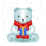 Bear cub sit with new year gift winter background Royalty Free Stock Photography
