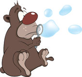 Bear cub and soap bubbles. Cartoon Royalty Free Stock Image