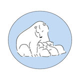 Bear with cubs logo Royalty Free Stock Images