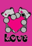 Bear cubs who hold pink heart. Stock Images