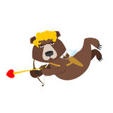 Bear Cupid. Funny wild animal in yellow wig. Shaggy Brown beast Stock Photo