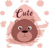 Bear cute animal cartoon. Bear cute cartoon on white and pink colors with floral background vector illustration Stock Photo