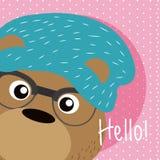 Bear Cute animal cartoon. Bear Saying hello cartoon vector illustration graphic design Royalty Free Stock Photos