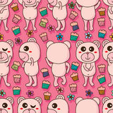 Bear cute cake flower seamless pattern Stock Photos