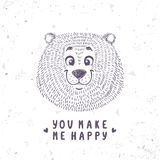 Bear cute doodle Stock Photography