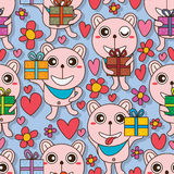 Bear cute gift seamless pattern Stock Image