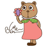 Bear cute like flower object Stock Images