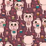 Bear cute love cake seamless pattern Stock Images