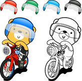 Bear cute  posing on the bike. Paint and drawing Stock Photos