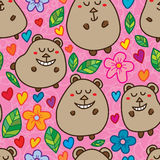 Bear cute stand seamless pattern. This illustration is drawing cute bear standing with colorful natural in pink color background and seamless pattern Royalty Free Stock Photo