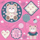 Bear. Cute bear teddy with balloon  illustration Royalty Free Stock Images