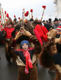 Bear dance parade. The parade take place every winter in December 30. Location: Moldavia area, eastern Romania royalty free stock photography