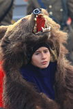 Bear dance parade. Unidentified bear dressed boy portrait on Traditional Bear Dance parade in Comanesti, Romania