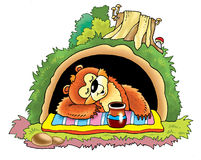 Bear den hole drawing honey Stock Images