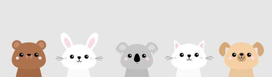 Bear, dog, cat kitten, rabbit, hare, grizzly, koala head face set. Colorful silhouette. Pink cheeks. Cute cartoon character. T-shi. Rt design. Pet animal vector illustration