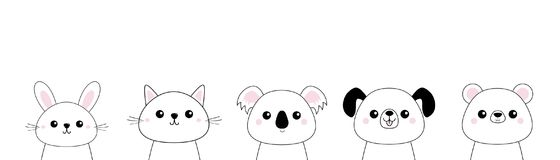 Bear, dog, cat kitten, rabbit, hare, grizzly, koala head face set. Doodle linear sketch. Pink cheeks. Cute cartoon character. T-sh. Irt design. Pet animal stock illustration