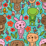 Bear dog cat mouse rabbit frog green seamless pattern Royalty Free Stock Photos