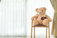 Bear doll on chair Royalty Free Stock Photography
