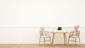 Bear doll on dining room or kid room - 3D Rendering. For artwork and background Royalty Free Stock Images