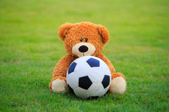 Bear doll with football  at field of grass Royalty Free Stock Photos