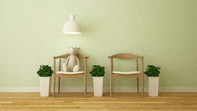 Bear doll in kid room or cafe - 3D Rendering. For artwork Stock Image