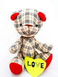 Bear doll with love note. Royalty Free Stock Images
