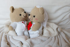 Bear doll in love, Toy bears with wedding, two teddy bears on th Royalty Free Stock Image