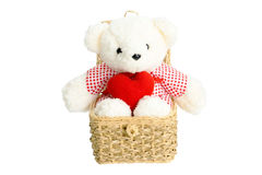 The bear doll sitting in the basket. Have red heart on the leg Royalty Free Stock Photo
