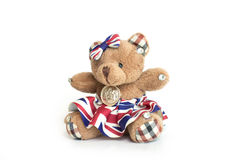 Bear doll on white background. Brown bear doll on white background Stock Photos