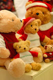 Bear dolls. Family wearing in red Royalty Free Stock Images