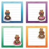 Bear donut card template Royalty Free Stock Image