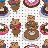 Bear donut cute sugar seamless pattern Stock Photos