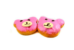 Bear Donut. Pink Bear delicious donut on white background royalty free stock photo