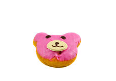 Bear Donut. Pink Bear delicious donut on white background royalty free stock photography