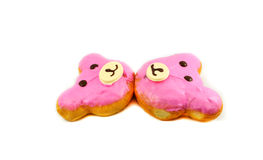 Bear Donut. Pink Bear delicious donut on white background royalty free stock photos