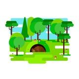 The bear dozing in a den. Vector illustration royalty free illustration