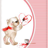 Bear draws a heart2 Royalty Free Stock Images