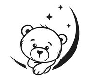 Bear Dreamer In Black And White Royalty Free Stock Photography