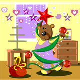Bear dresses fir tree 21 Royalty Free Stock Images