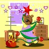 Bear dresses fir tree 21. Vector. Bear dresses fir tree 21 Royalty Free Stock Images