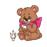 Bear drinking cup cartoon Stock Images