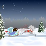 A bear drives a horse in a sleigh. On a winter road. Drawing for postcard, poster, congratulations Royalty Free Stock Images