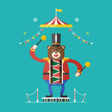 Bear drummer circus theme ,Vector illustration Royalty Free Stock Photography