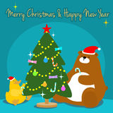 Bear duck decorate christmas tree  illustration Stock Photo