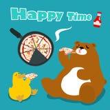 Bear & duck eat pizza cartoon  illustration Stock Image