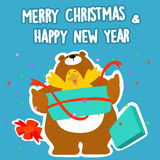 Bear and duck merry christmas and happy new year  Stock Image