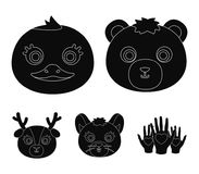 Bear, duck, mouse, deer. Animal`s muzzle set collection icons in black style vector symbol stock illustration web. Bear, duck, mouse, deer. Animal`s muzzle set Royalty Free Stock Images